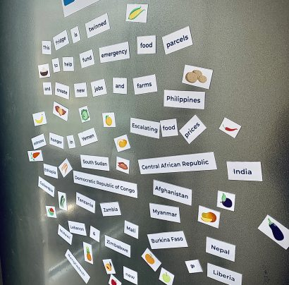A fridge showing various magnets from the Fridge appeal from Toilet Twinning